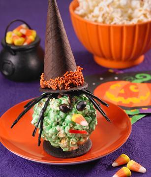 halloween themed treat, witchy popcorn ball
